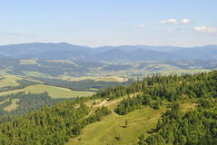 Carpathian hills. With a birds-eye view Royalty Free Stock Photos