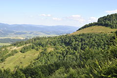 Carpathian hills. With a bird's-eye view Royalty Free Stock Image
