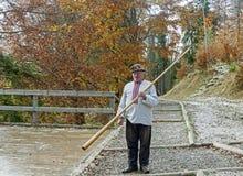 Carpathian Hutsul with folk music instrument and signaling device, Trembita Royalty Free Stock Photography