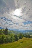 Carpathian kullar för bakgrund vertikalt Royaltyfri Foto