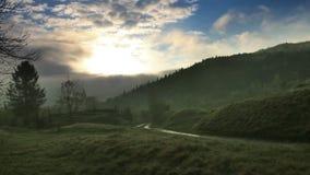 A carpathian landscape at the morning. A landscape of the foggy morning forest at carpathian mountains, national park Skolivski beskidy, Lviv region of Western stock footage