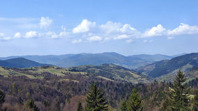Carpathian landscape. The tops of the clouds and in the Carpathians Royalty Free Stock Photo
