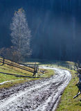 Carpathian mountain autumn country landscape. Stock Photo