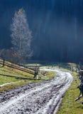 Carpathian mountain autumn country landscape. Stock Photo