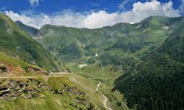 Carpathian Mountains. The road with the most highest altitude in Romania: TRANSFAGARASAN. Full of curves and beautiful landscapes Royalty Free Stock Photography