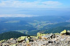 Carpathian Mountains from above. Stock Photo
