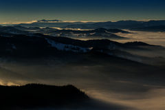 Carpathian mountains. A beautiful view over the Carpathian Mountains. The shot is taken from Rarău Mountain, in the heart of Bukovina, Romania Stock Image