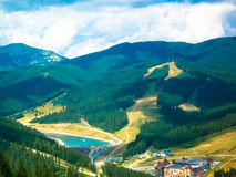Carpathian mountains. Bukovel lake Ukraine royalty free stock photography