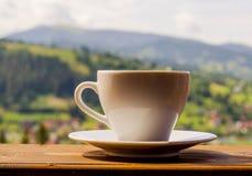 Carpathian mountains with coffee still life Stock Photos