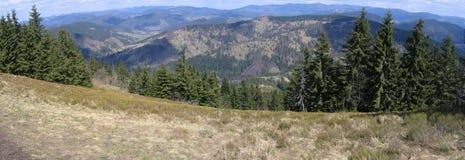 Carpathian mountains. High pass in Carpathian mountains, early spring Stock Photos