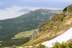 Carpathian Mountains in June. In some places the snow is not melted Stock Photography
