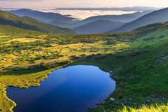 Carpathian mountains landscape in morning, panorama view from the height, Nesamovyte lake under hill. Royalty Free Stock Images