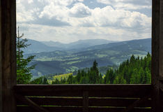 Carpathian Mountains landscape seen by frame Royalty Free Stock Photography