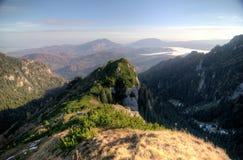 Carpathian Mountains landscape. View of Mount Postavaru and Mount Piatra Mare mountains from Bucegi Mountains, Romanian Carpathians Stock Images