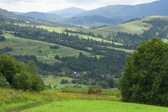 Carpathian mountains landscape with village, road, forest and field. Europe Stock Images