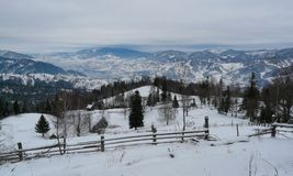 Carpathian mountains. Landscape on winter in Carpathian mountains, in Romania stock photography