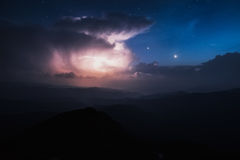Carpathian Mountains. Mount Pop Ivan. Thunderhead and the starry sky above the ridge Montenegrin Stock Image