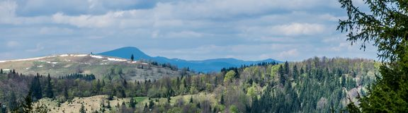 Carpathian Mountains. Panoramic. Carpathian Mountains in may. Nature of Western Ukraine. Wide panoramic view stock photo