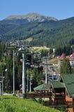 Carpathian mountains, people climb the mountain on ropeway, lift Stock Photos