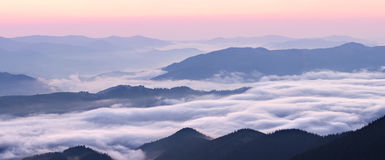 Carpathian mountains ridge panorama Royalty Free Stock Photography