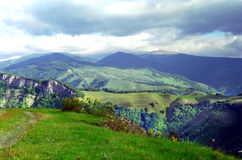 Carpathian Mountains Romania. Transylvanian Highlands, home to Romanian shepherds and subsistance farmers royalty free stock image