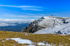Carpathian Mountains, Romania. Bucegi, Carpathian Mountains. Stunning scenery with Costila Peak 2490 m and television relay, winter landscape in highlands Royalty Free Stock Image