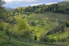 Carpathian Mountains, Romania. Rural landscape with Magura village in Piatra Craiului National Park. Stock Photography