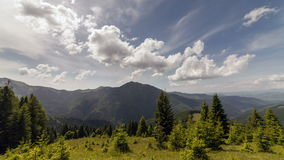 Carpathian mountains summer landscape with blue sky and clouds.  stock video footage
