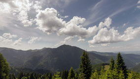 Carpathian mountains summer landscape with blue sky and clouds.  stock video
