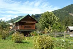 Carpathian mountains summer landscape with green hills and wooden fence, Stock Photos