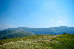 Carpathian mountains summer landscape  with green sunny hills wi Stock Images