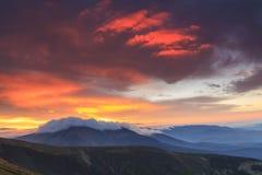 Carpathian Mountains at sunrise Stock Photo