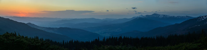 Carpathian mountains at sunrise - panorama Royalty Free Stock Images