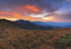 Carpathian Mountains at sunset Royalty Free Stock Images