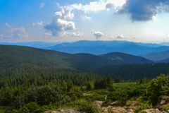 Way to Hoverla, the highest Ukrainian mountain, in cloudy summer day. Carpathian mountains, Ukraine: Way to Hoverla, the highest Ukrainian mountain, in cloudy royalty free stock images