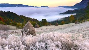 Carpathian mountains video time lapse footage in Romania. In winter time and autumn time with white frost and mist stock footage
