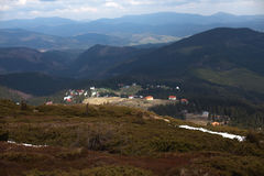 Carpathian mountains. The village in the mountains. Houses in the mountains. Royalty Free Stock Photography