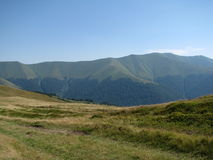 Carpathian mountains in the West Ukraine. Summer, Borzava ridge and blue the sky Royalty Free Stock Images