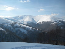 Carpathian mountains in the West Ukraine, winter. Carpathian mountains in the West Ukraine, Borzhava ridge, winter Stock Photo