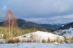 Carpathian Mountains in winter. Mountain scenery, winter Carpathian landscape with small chapel, Ukraine Stock Photography