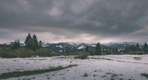 Carpathian mountains in winter snow - vintage film effect. Carpathian mountains in winter snow. romanina, slovakia hiking tourist trails - vintage film effect Stock Image