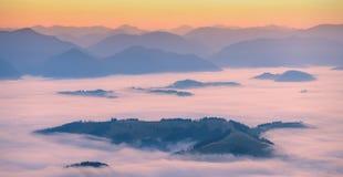 Carpathian pink fog Royalty Free Stock Photos