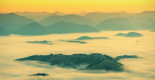 Carpathian pink fog_vintage Royalty Free Stock Photos