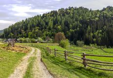 Carpathian rural landscape. A rural landscape at carpathian mountains with fence, home and some cows at back, national park Skolevski beskidy, Lviv region of Stock Photography