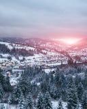 Carpathian saga av den Slavske bergbyn Royaltyfria Bilder