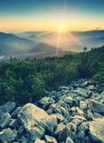 Carpathian sunrise_vintage Royaltyfria Bilder