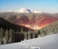 Carpathian Ukraine night village Stock Images
