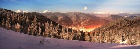 Carpathian Ukraine night village Royalty Free Stock Photography