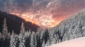 Carpathian Ukraine night village Royalty Free Stock Image