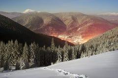 Carpathian Ukraine night village Royalty Free Stock Photo